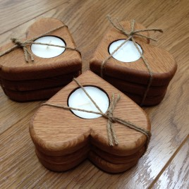 Heart Tealights in Solid Oak