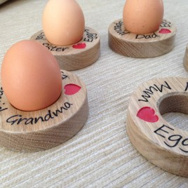 Egg Cups in Solid Oak
